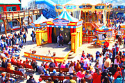 Crowds  Digital Art Prints - The Showman . Pier 39 . San Francisco California . 7D14337 Print by Wingsdomain Art and Photography