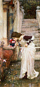Staircase Painting Posters - The Shrine Poster by John William Waterhouse