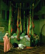 Knelt Paintings - The Shrine of Imam Hussein by Jean Leon Gerome