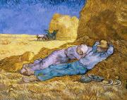 Haystack Paintings - The Siesta by Vincent Van Gogh