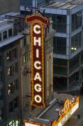 Recreational Structures Posters - The Sign Outside The Chicago Theater Poster by Paul Damien