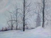 Snowscape Painting Metal Prints - The Silence of Snow Metal Print by Betty Pimm