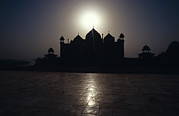Yamuna River Posters - The Silhouette Of The Taj Mahal Mosque Poster by Jason Edwards