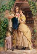 Family Love Paintings - The Sinews of Old England by George Elgar Hicks
