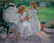 Sisters Pastels Metal Prints - The Sisters Garden Metal Print by Sue Halstenberg
