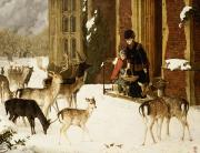 Snowfall Painting Posters - The Sisters of Charity Poster by Charles Burton Barber