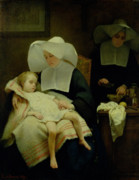 Sisters Painting Framed Prints - The Sisters of Mercy Framed Print by Henriette Browne