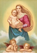 Madonna And Child Framed Prints - The Sistine Madonna Framed Print by Raphael