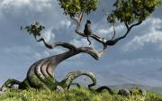 Grass Art - The Sitting Tree by Cynthia Decker