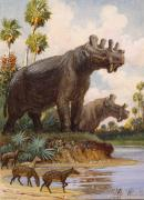 National Geographic Society Art Prints - The Six-horned Uintatheres Thrived Print by Charles R. Knight