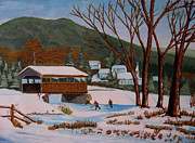 Ice Hockey Painting Prints - The Skate Pond Print by Anthony Dunphy