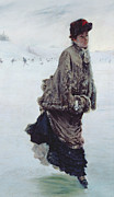 Snowfall Paintings - The Skater by Joseph de Nittis
