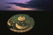 Metals And Metallic Substances Framed Prints - The sky disk against a Framed Print by Kenneth Garrett