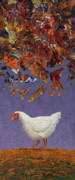 Hen Prints - The sky IS falling Print by James W Johnson