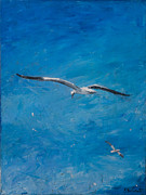 Flying Seagull Painting Originals - the Skys the Limit by Sophie Brunet