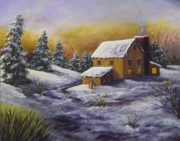 Footprints Paintings - The Sled Against The Shed by Laurie Golden