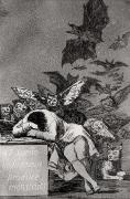 Engraving Metal Prints - The Sleep of Reason Produces Monsters Metal Print by Goya