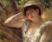 Resting Metal Prints - The Sleeper Metal Print by Pierre Auguste Renoir