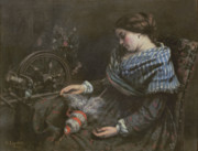 Spinning Wheel Prints - The Sleeping Embroiderer Print by Gustave Courbet