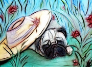 Sleeping Dogs Digital Art Prints - The Sleepy Garden Pug 2 Print by Lisa Stanley