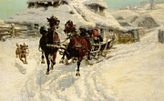 Winter Travel Painting Posters - The Sleigh Ride Poster by JFJ Vesin
