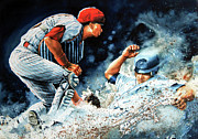 Baseball Poster Painting Framed Prints - The Slide Framed Print by Hanne Lore Koehler