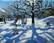 Winter Landscape Paintings - The slide in winter by Andrew Macara
