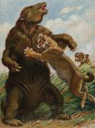 National Geographic Society Art Prints - The Slow Megatherium Was No Match Print by Charles R. Knight