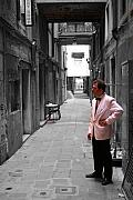Canals Framed Prints - The Smoking Man in Venice Framed Print by Greg Sharpe