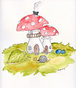 Mushrooms Drawings Posters - The Snail House Poster by Eva Ason
