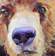 Brown Bear Paintings - The Sniffer by Pat Saunders-White