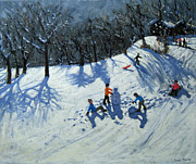 Tobogganing Prints - The Snowman  Print by Andrew Macara