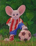 Rip Squeak Paintings - The Soccer Player by Leonard Filgate