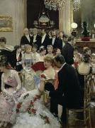 Dinner Painting Prints - The Soiree Print by Jean Beraud