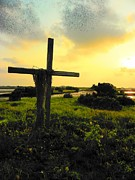 The Wooden Cross Metal Prints - The Son and Sunset Metal Print by Sheri McLeroy