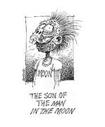Humorous Greeting Cards Drawings Framed Prints - The Son of The Man in the Moon Framed Print by Curtis Chapline
