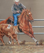 Rodeo Pastels Posters - The Sorrell and the Cow Poster by Bobbie Deuell