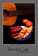 Stylized Food Posters - The Soulful Art Of Southern Eating-Catfish and Ribs Poster by Jerry Taliaferro