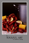 Stylized Food Posters - The Soulful Art Of Southern Eating-Crawfish Poster by Jerry Taliaferro