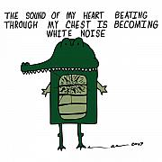 Cartoon Drawings - The Sound Of My Heart Beating - Color by Karl Addison