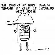 Cartoon Drawings - The Sound Of My Heart Beating by Karl Addison