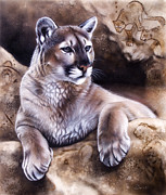 Mountain Lion Paintings - The Source IV by Sandi Baker