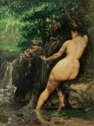 Running Back Painting Framed Prints - The Source or Bather at the Source Framed Print by Gustave Courbet