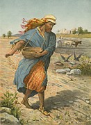 Bible Painting Prints - The Sower Sowing The Seed Print by English School