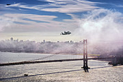 Space Shuttle Endeavour Prints - The Space Shuttle Endeavour over Golden Gate Bridge 2012 Print by David Yu