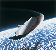 Space Shuttle Photo Prints - The Space Shuttle Re-entering The Earths Atmosphere Print by Stockbyte