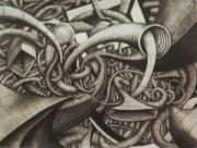 Surrealism Drawings Prints - The Space Time Continuum  Print by Jon Gemma In Your Living Room