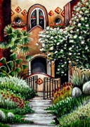 Adobe Mixed Media Prints - The Spanish Gardens Print by Elizabeth Robinette Tyndall