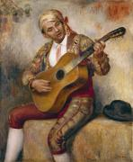 Seated Painting Posters - The Spanish Guitarist Poster by Pierre Auguste Renoir
