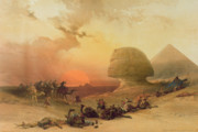 Camels Posters - The Sphinx at Giza Poster by David Roberts